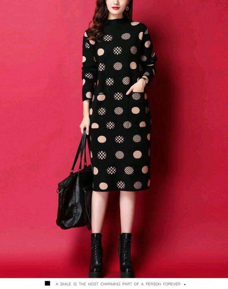 Đầm len suông họa tiết tròn cao cấp giá sỉ, giá bán buôn
