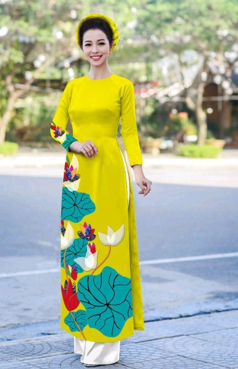 áo dài hoa sen giá sỉ, giá bán buôn