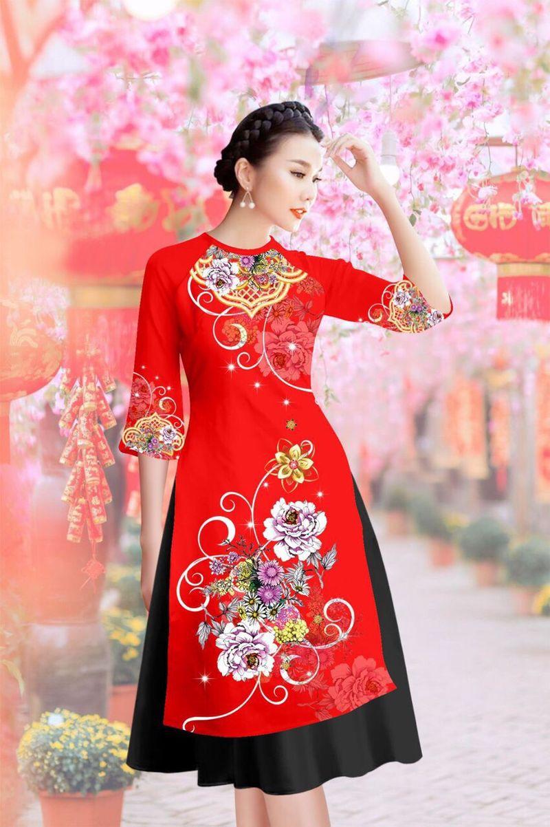 Set áo dài cách tân gấm tơ nền đỏ in hoa lạ mắt giá sỉ, giá bán buôn