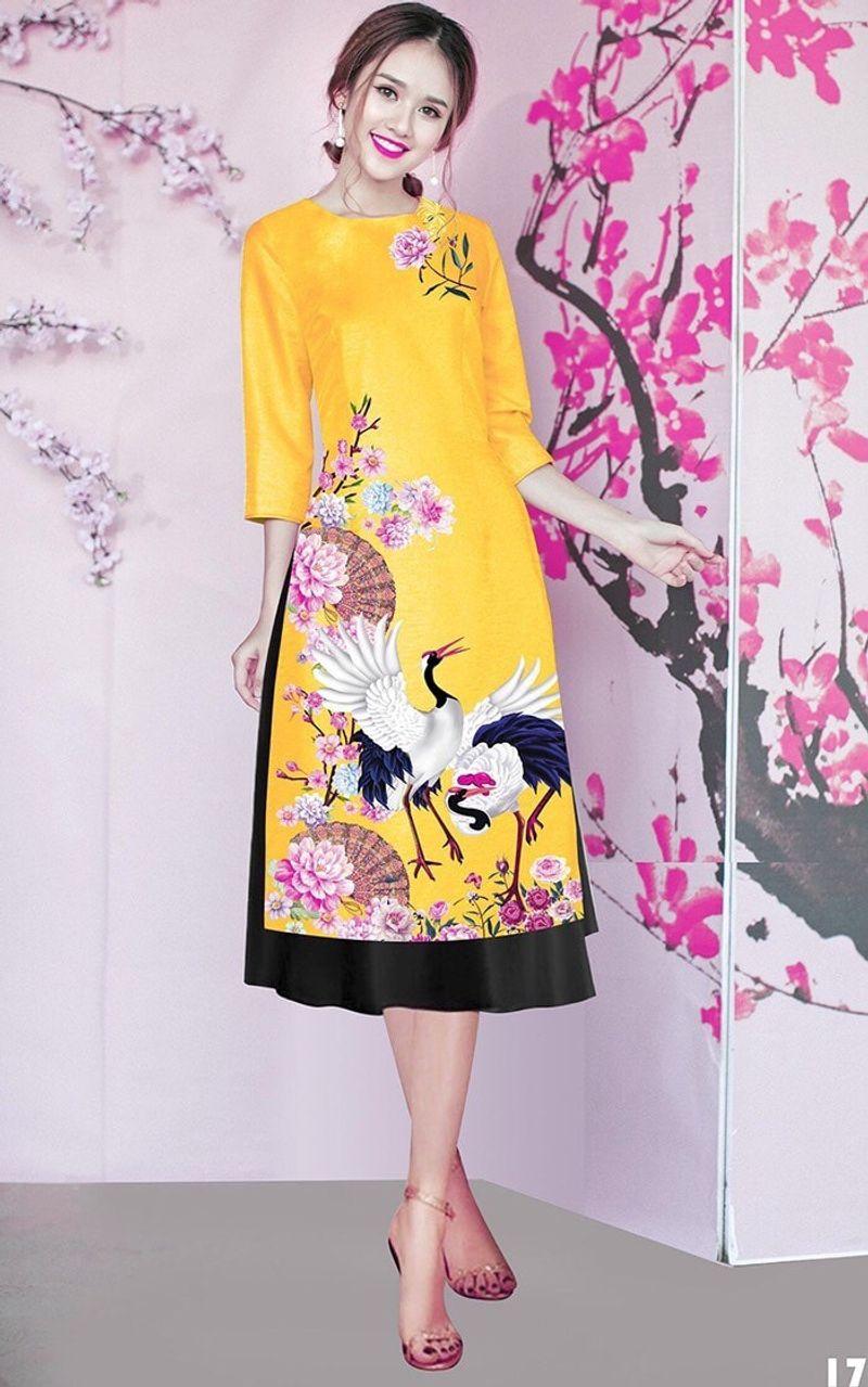 Set áo dài cách tân tơ nhung nền vàng in chim hạc giá sỉ, giá bán buôn