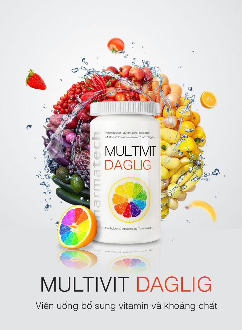 Viên uống bổ sung vitamin và khoáng chất Multivit Daglig - Pharmatech Na Uy giá sỉ, giá bán buôn