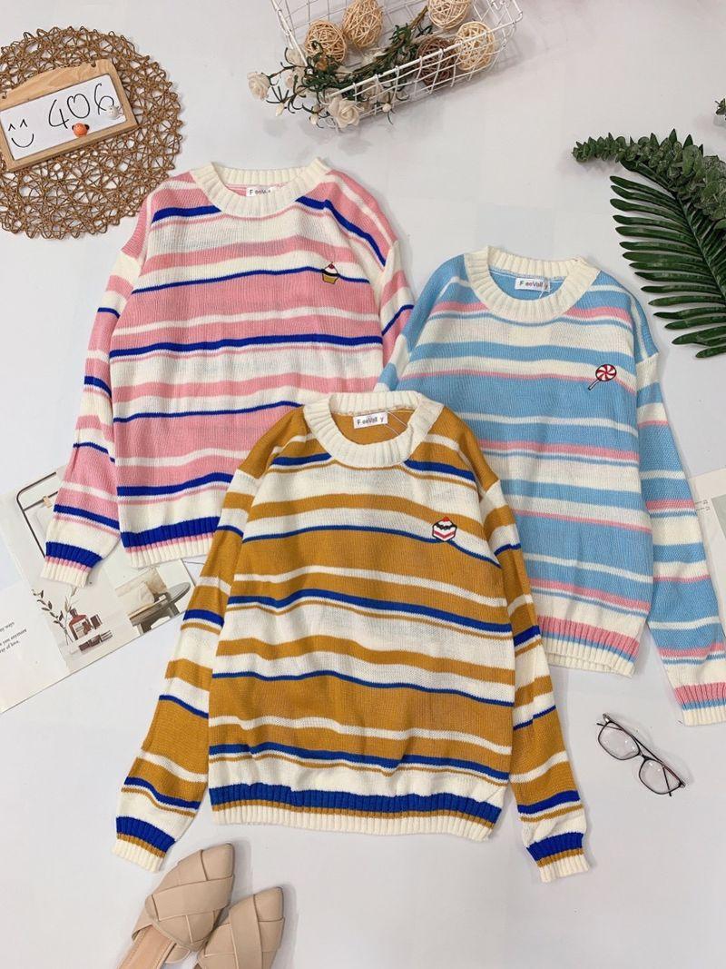 Áo len kẻ sọc thêu hình cute Chất len móc mix màu giá sỉ, giá bán buôn