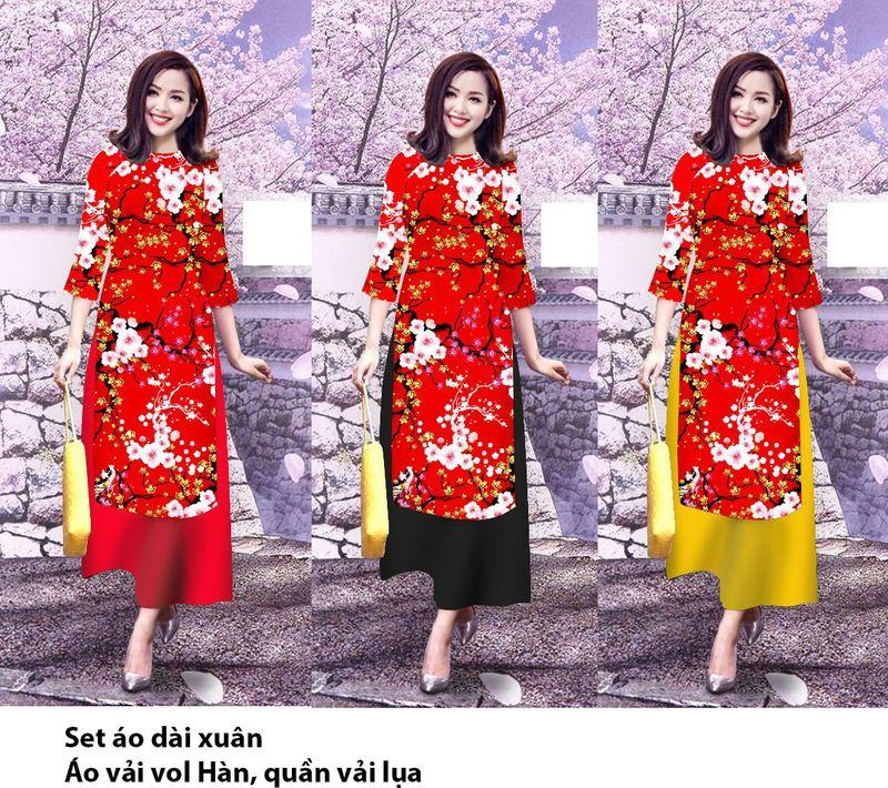Set áo dài xuân in 3DMS0249AD giá sỉ, giá bán buôn