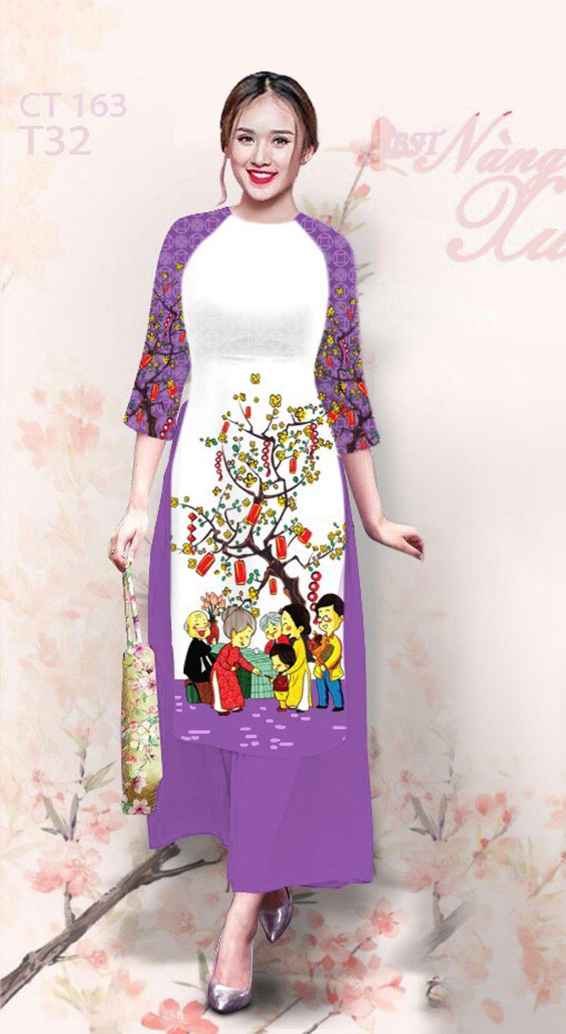 Set áo dài cách tân in chúc xuân quần dài-MS2019-4D giá sỉ, giá bán buôn