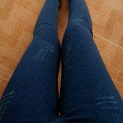 Quần jean 2 da lưng cao nữ