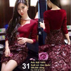 *d1474* đầm body váy ren hoa hồng tay dài