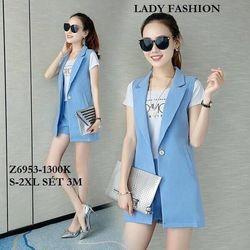 sb2452 set bộ vest quần short kèm áo thun in cực hot giá sỉ