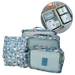 Bộ 6 túi đựng đồ du lịch tiện ích travel hoa xanh giá sỉ