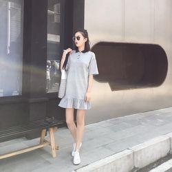 Váy xám đuôi cá phối cổ- chuyên sỉ các mặt hàng thời trang