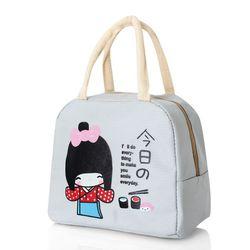 Túi giữ nhiệt xinh xắn cô gái nhật loại dày cực cute - xám
