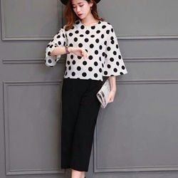Sét áo chấm bi + quần culottes-gs122