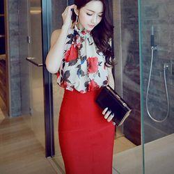 Set áo yếm + chân váy bút chì màu đỏ