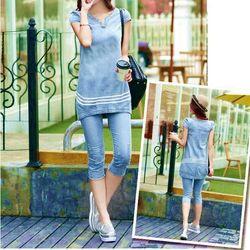( xưởng may - chuyên sỉ )  *sb3084*  set jean áo form dài kèm quần lửng - sỉ 155k - sỉ 10 cái/mẫu 145k - chất jean