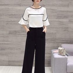 Sét áo viền tay loa + quần ống rộng