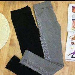 ( xưởng may - chuyên sỉ )  *qd3338* quần legging viền ren - giá sỉ 80k - sỉ 5cai/mẫu (>=2 mẫu) giá 70k - chất thun co giãn y hình