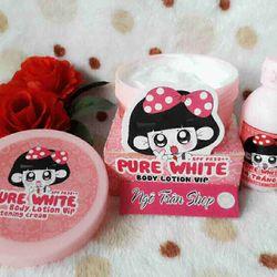 Kem body pure white + khóa trắng
