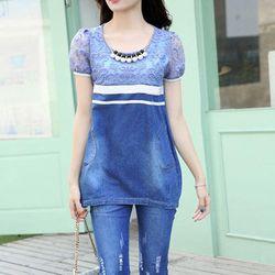 Set bộ jean form dài phối ren nổi - s205