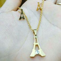 bộ trang sức xi vàng 18 giá sỉ 58k gồm bông tai dây chuyền và mặt dây chuyền giá sỉ