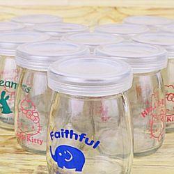 Bộ 12 cốc làm sữa chua thủy tinh họa tiết đáng yêu