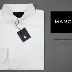 Sơ mi mango trắng không túi, tay dài cực đẹp