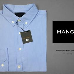 Sơ mi mango xanh nhạt vải oxford, không túi, tay dài vnxk