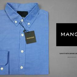 Sơ mi mango xanh đậm tay dài không túi, tại xưởng giá tốt