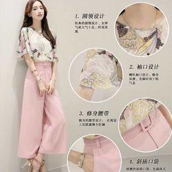 ( xưởng may - chuyên sỉ )  *sb3667* set áo hoa quần ống rộng - giá sỉ 170k - sỉ 5 cái/mẫu (lấy từ 2 mẫu) giá 160k - chất áo vaon in 3d, quần tuyết mưa