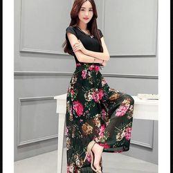 ( xưởng may - chuyên sỉ )  *sb3680* set áo tay con tùng xòe hoa - giá sỉ 170k -sỉ 5 cái/mẫu (lấy từ 2 mẫu) giá 160kk - chất áo thun , váy voan in 3d