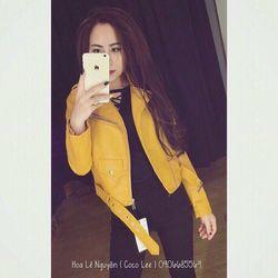 (xưởng sỉ - t2shop.vn) áo khoác da vàng cổ vest sỉ: 175k lẻ: 275k chât (da y hình, form nữ dưới 53kg)