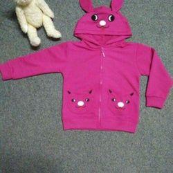 áo khoác bé gái nón và hai túi thêu thú vải da cá 4c mềm mịn bao hàng đổi trả ri 7 size 1-7 giá63k giá sỉ