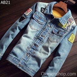 Áo bò nam áo khoác jeans rách va