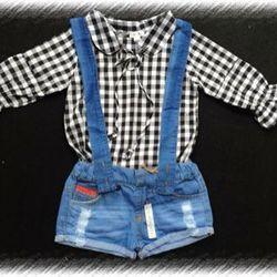 Sét quần yếm jean phối áo sơ mi giá sỉ
