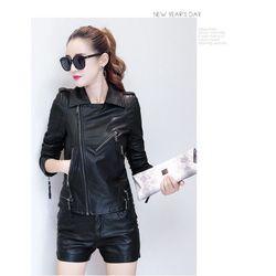 (xưởng sỉ - t2shop.vn)áo khoác da cỗ vest sỉ : 170k lẻ : 270k chất (da, form nữ dưới 53kg)