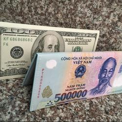 Ví cầm tay nữ hình tiền 500k