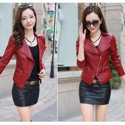 Áo khoác da nữ - 265 chất liệu da màu sắc y hình kiểu dáng dài tay không nón - như hình kích thước m 45-53kg l 58kg tùy chiều cao