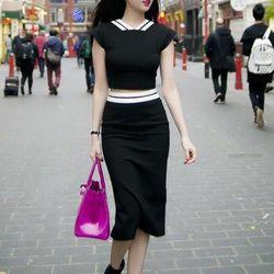 Bộ áo váy bút chì qua gốithiết kế sang trọng như ngọc trinh hnm321