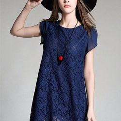 Đầm suông ren tay voantmf-1272