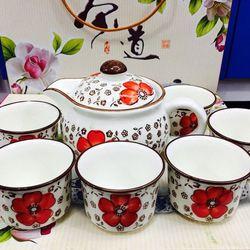 Bộ tách trà nhật gồm 1 bình trà và 6 tách chất liệu gốm sứ giá sỉ