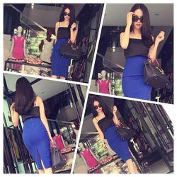 Áo đầm dạo phốthiết kế váy bút chì như ngọc trinh hnm143