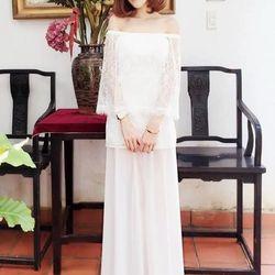 Váy maxi dự tiệc cướithiết kế vai ngang dễ thương m31058 giá sỉ
