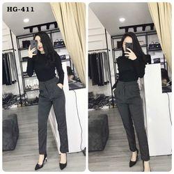 Hg-411 quần baggy nữ kẻ sọc màu đen