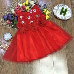 đầm công chúa chất liệu ren chi thieu nhập kêt hoa ngọc trai đầm gồm 4 lớp eo đính 3 bông hoa hàng bao đẹp size 18 giá 130000 hàng có sẵn giao hàng sau 24g giá sỉ