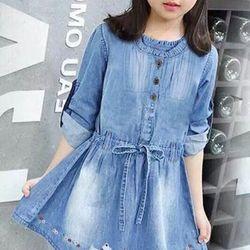 đầm jean bé gái chất jean cotton mịn mát tay ngắn có thể làm tay ngắn hay dài đều được size 1/8 giá 10800 giá sỉ