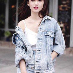 Hg-527 áo khoác jean nữ bò túi hộp
