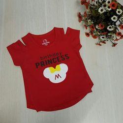 Áo thun rớt vai bé gái in nổi thun 4 chiều size 1-8 giá 39000 hàng có sẵn