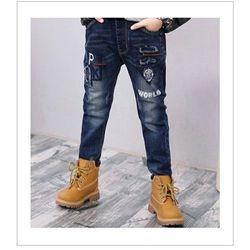 Hàng có sẵn quần jean bé trai đại cồ chất jean mềm mại co dãn tốt hình thêu size 11 - 15 từ 35kg đến 60kg có 2 màu đậm nhạt giá 107000 giá sỉ