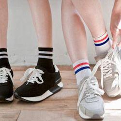 lố 12 đôi tất nữ Thể thao 2 sọc nam nữ mẫu hàn quốc