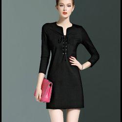Đầm suông cao cấp dây rút nổi bật black420-s230