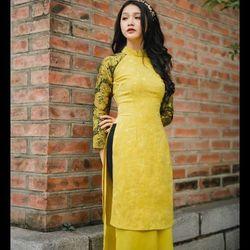 a4900 áo dài mẹ và bé phối ren - sỉ 5 cái bất kỳ 252k - chất vải gấm giá sỉ