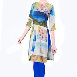 Áo dài cách tân họa tiết in 3d màu xanh